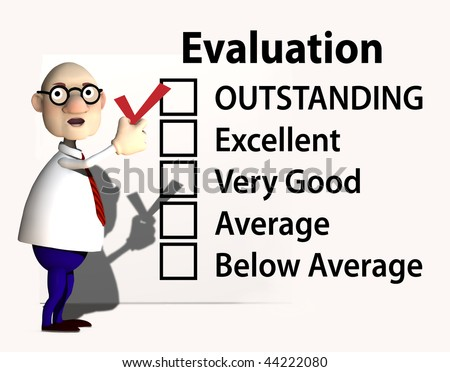 A cartoon boss or teacher puts a red check mark on a report card or evaluation for job performance. - stock photo