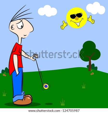 A cartoon boy playing with a yo-yo in the park - stock photo