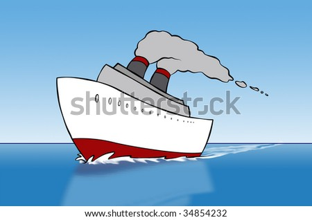 A cartoon cruise ship out on the open sea. - stock photo