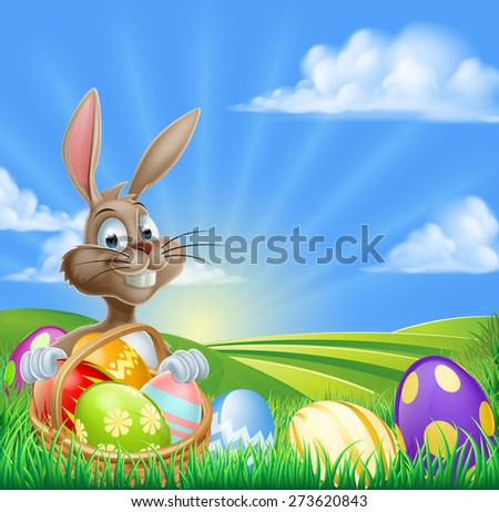 A cartoon Easter Bunny with a basket hamper of Easter eggs in a field with rolling hills - stock photo