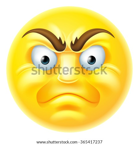 A cartoon emoji emoticon icon looking very angry or furious - stock photo