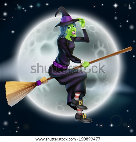 A cartoon Halloween witch character flying in front of a big full moon - stock photo