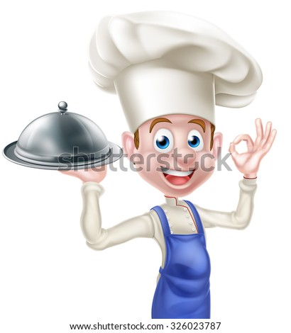 A cartoon happy chef character holding a platter or cloche and giving an okay or perfect chef gesture - stock photo