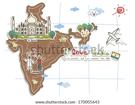 A cartoon map of India with the Taj Mahal and people holding hands. - stock photo