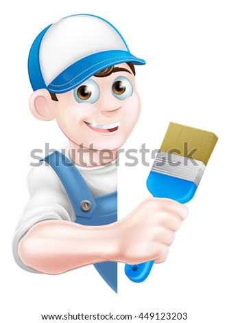 A cartoon painter decorator in a cap hat and blue dungarees holding a paintbrush and peeking around a sign - stock photo