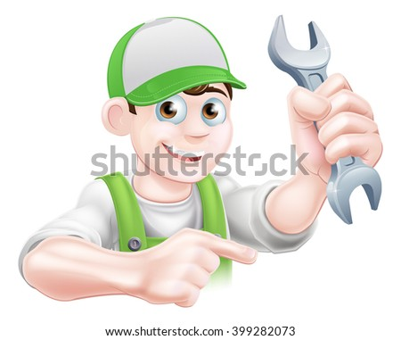 A cartoon plumber or mechanic man holding a spanner and pointing - stock photo