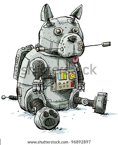 A cartoon, robot dog sitting and being lazy. - stock photo