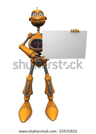 A cartoon robot holding a blank sign. - stock photo