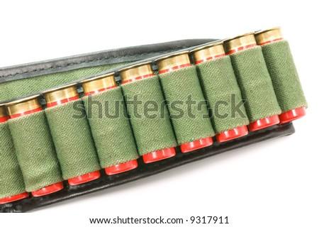 A cartridge belt with 12 gauge ammunition - stock photo