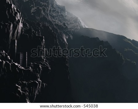 A castle perched on a craggy mountain cliff. - stock photo