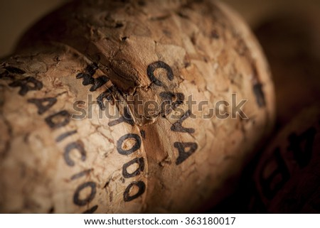 A Cava cork in a warm, moody setting. Cava metod traicion is printed on the cork to prove it's a quality product. - stock photo