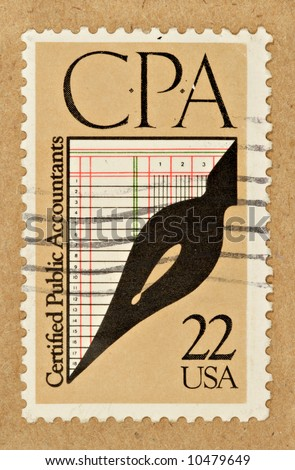 A .22 cent U.S. stamp commemorating CPA's. - stock photo