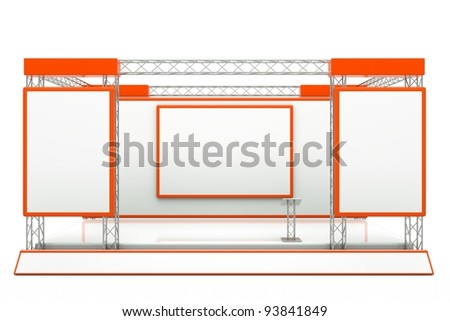 a center stage with metal frame, put your object in promotion screens - stock photo