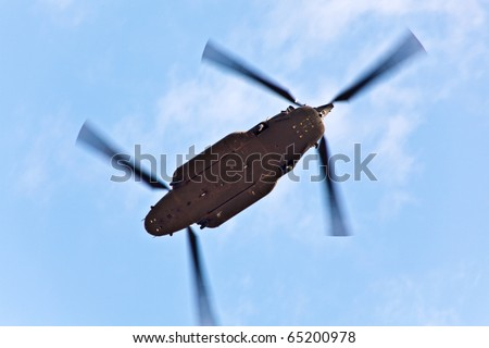 A CH47 Chinook military helicopter flying. - stock photo
