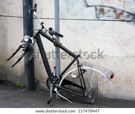 A chain is not enough to prevent the theft of a bicycle - stock photo