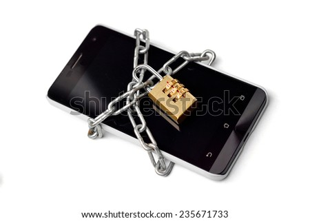 a chained smartphone - data protection concept - stock photo