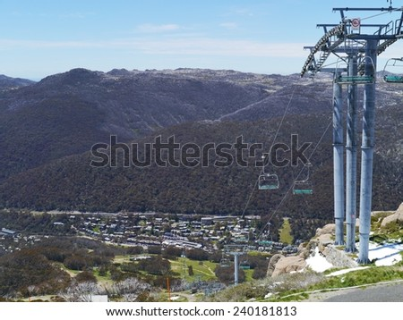 A chair lift in Thredbo near Jindabyne in the Snowy mountains in New South Wales in Australia - stock photo