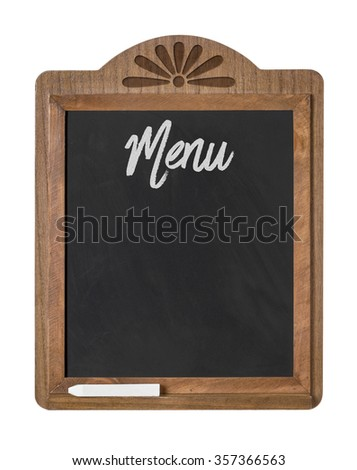 A chalkboard sign on a white background - Menu - stock photo