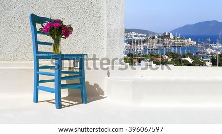 A characteristic view from famous tourism city Bodrum - stock photo