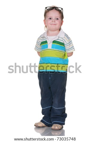 A cheerful boy in glasses; isolated on the white background - stock photo