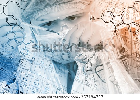 A chemist is testing, dropping reagent to flask at laboratory with chemical equations and periodic table background. - stock photo