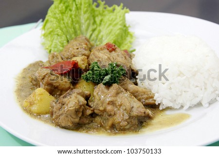 A chicken curry with garnishing serve on a plate. - stock photo