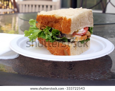 a chicken sandwich made with Marco Polo bread, lettuce, tomato, onion, coleslaw and cheese - stock photo