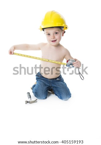 A child boy portrait wearing as a carpenter over a isolated white background - stock photo