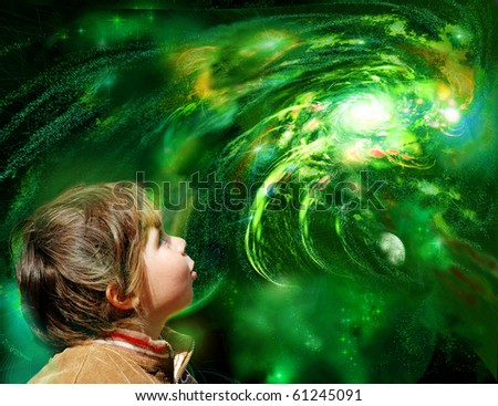 A child looks galaxy, emotional face. - stock photo
