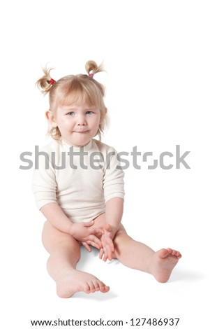 A child on a white background. Clipping path. - stock photo