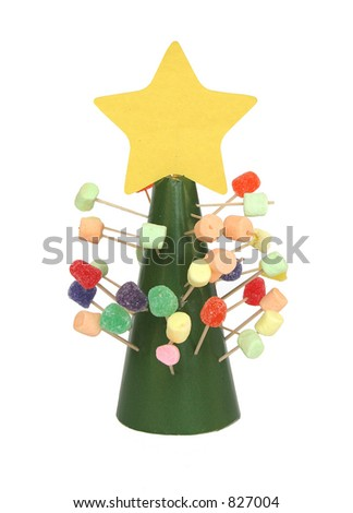 A child's gumdrop and marshmallow Christmas tree. - stock photo
