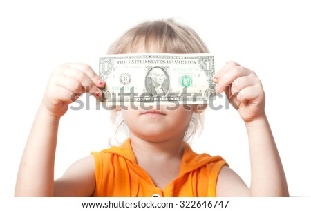 A child with a dollar bill. Isolated on white background - stock photo
