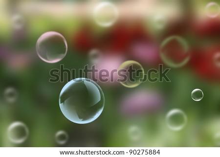 A children's entertainment. Soap bubbles on a multicolored background - stock photo