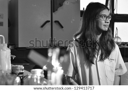 A Chinese Asian female medical or scientific researcher - stock photo