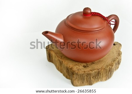 A chinese teapot shows the lifestyle in slow and ease. Clear brain with wisdom and open mind.  peaceful and quiet - stock photo