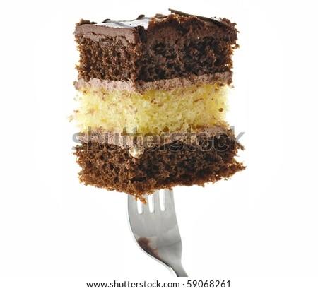A chocolate fudge layer cake - stock photo