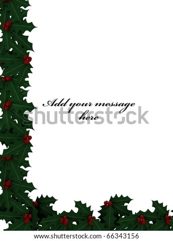 A Christmas card with mistletoe - a 3d image - stock photo