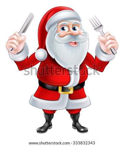 A Christmas cartoon illustration of Santa Claus holding a knife and fork - stock photo
