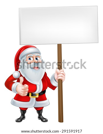 A Christmas cartoon Santa Claus holding a sign and giving a thumbs up - stock photo