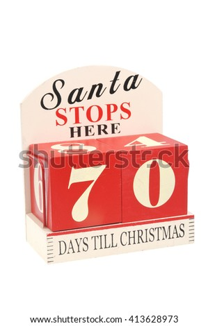 A christmas countdown ornament isolated on a white background 70 Days to Christmas - stock photo
