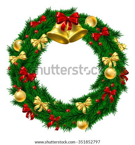 A Christmas door wreath decoration with gold and red bows and ribbons, holly berries, gold bauble decorations and gold bells - stock photo