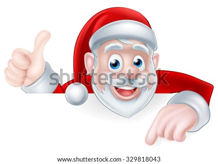 A Christmas illustration of a cartoon Santa pointing at a sign and giving a thumbs up - stock photo