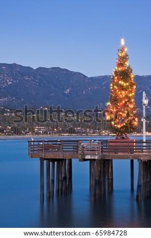 A Christmas tree displayed on Stearn's Wharf in Santa Barbara, California. - stock photo