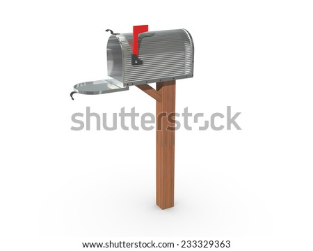 A chrome and empty US Mailbox, open with corrugated casing and red flag up. - stock photo