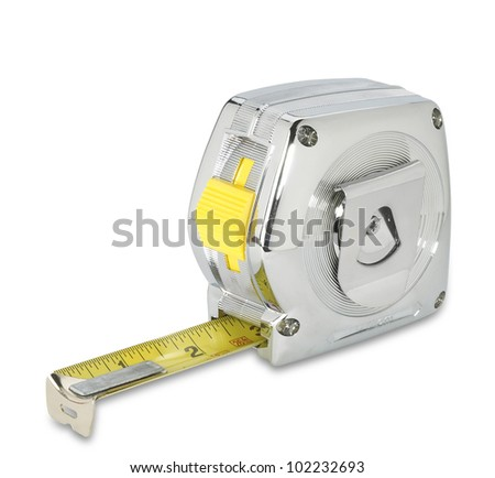 a chrome silver retro tape measure on white with clipping path - stock photo