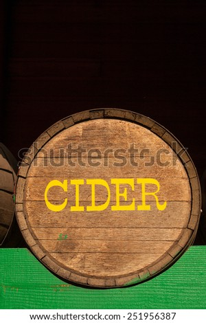 A cider barrel in local farmers market, Washington state - stock photo