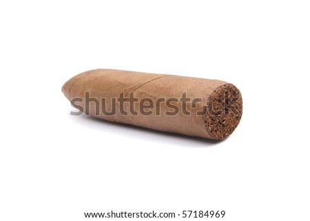 A cigar is a tightly rolled bundle of dried and fermented tobacco that is ignited so that its smoke may be drawn into the mouth. - stock photo
