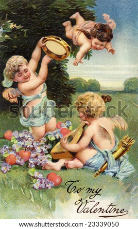 A circa 1906 Victorian Valentine greeting illustration, with cupids, hearts, flowers and musical instruments - stock photo