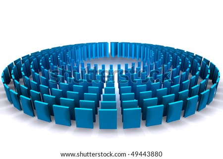 a circle made of vertical panels symbolizing team effort - stock photo