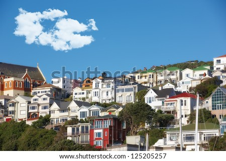 A city scape of Wellington, New Zealand - stock photo